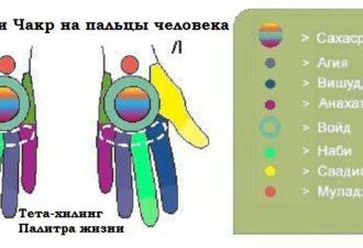 Проекции Чакр на пальцы человека